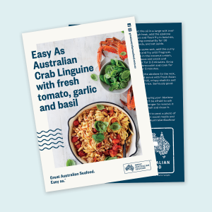 Easy As Australian Crab Linguine With Fresh Tomato, Garlic and Basil Recipe Cards x100