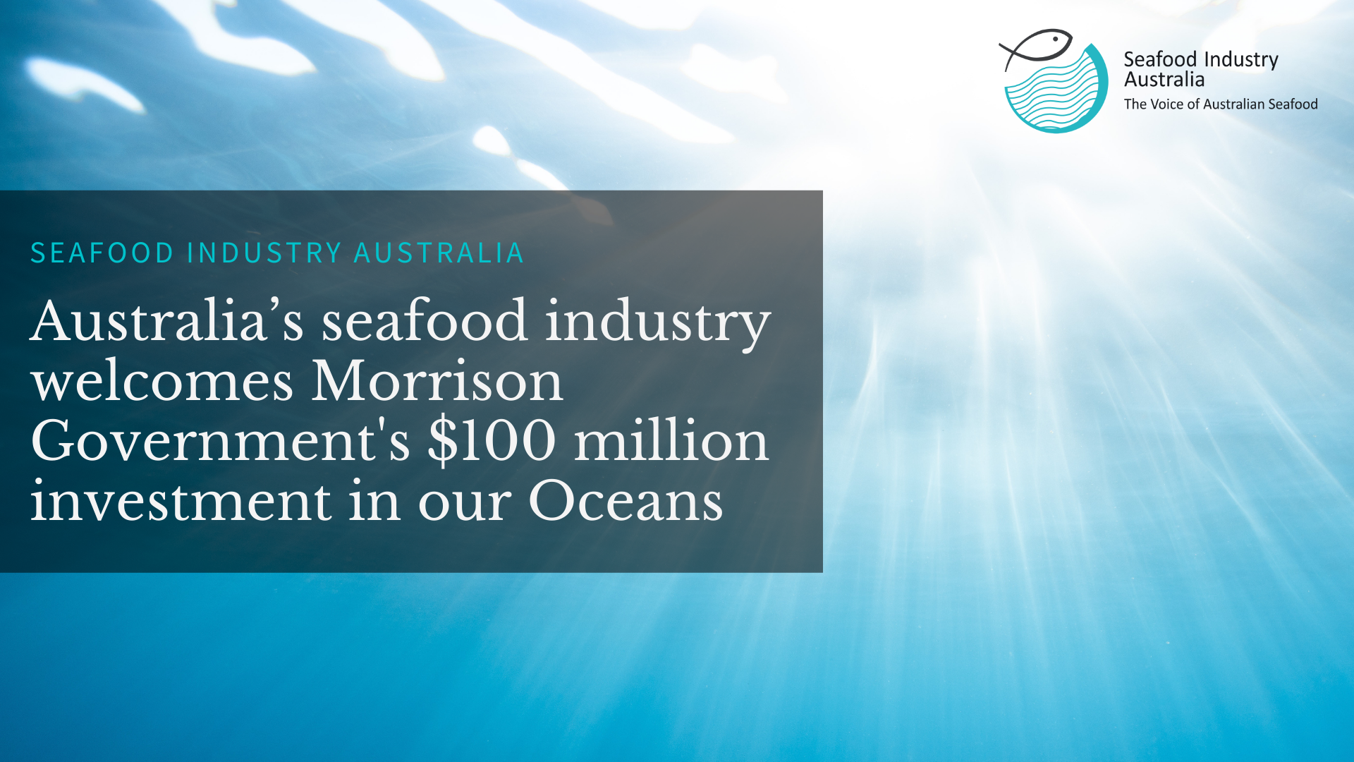 Australia's seafood industry welcomes Morrison Government's $100 million investment in our Oceans