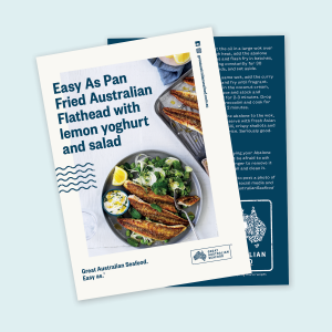 Easy As Pan Fried Australian Flathead with lemon yoghurt and salad Recipe Card